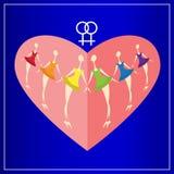 Six filles lesbiennes dans des couleurs de robes de l'arc-en-ciel sur un fond de coeur rouge Jour heureux du `s de Valentine Cart Photographie stock libre de droits