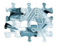 Six financial jigsaw pieces stock photo