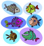 Six fish doodle colored drawing Stock Photo