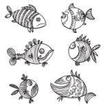 Six fish doodle monochrome pattern Stock Image
