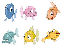Six fishes set Royalty Free Stock Photography