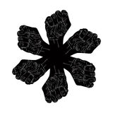 Six fists abstract symbol, black and white vector special emblem Royalty Free Stock Photography