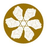 Six fists abstract symbol with hexagonal star Royalty Free Stock Image
