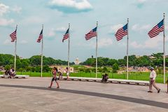 Six flags flying on Washington mall. Washington mall six flags flying. For patriotic individuals. Useful for holiday or patriotic messages. Rather multicolored Royalty Free Stock Image