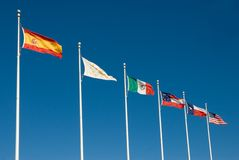 Six Flags of Texas. The Six National Flags of Texas Royalty Free Stock Images