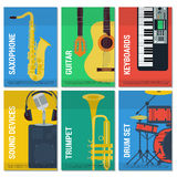 Six flat banners musical instruments Stock Photos
