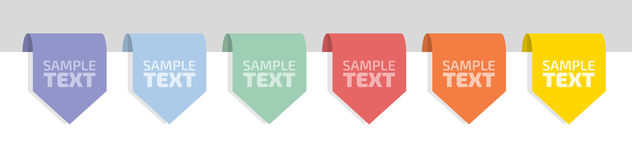 Six flat color labels Stock Photography