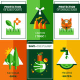 Six Flat Ecology Posters Set Royalty Free Stock Images