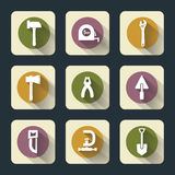 Six flat working tools icons Royalty Free Stock Image
