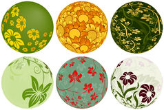 Six Floral Balls for your designs Stock Image