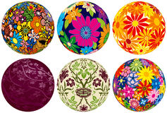 Six Floral Balls for your designs Royalty Free Stock Photo