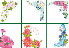 Six floral corners on white Stock Photography