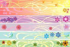 Six floral strips collection Stock Images