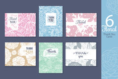 Six floral wedding thank you cards set with elegant text design Royalty Free Stock Photo
