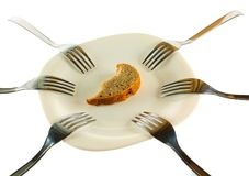 Six forks and a crust of a bread. Isolated on a white background Royalty Free Stock Images