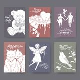 Six A4 format Valentine cards with teddy bear, cake, cats, cupid, boy and girl, singing bird and brush lettering. stock illustration