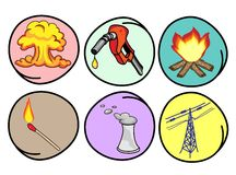 Six Forms of Energy on Round Background Royalty Free Stock Photos