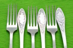 Six fourchettes argentées Photographie stock libre de droits