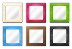 Six frames / mirrors. Empty group of isolated colored photo frames for your pictures or mirrors on white background Stock Images