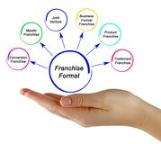 Six Franchise Formats. Woman Presenting Six Franchise Formats royalty free stock photography