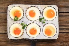Six fried eggs Royalty Free Stock Photo