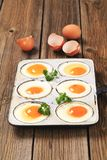 Six fried eggs Stock Photography