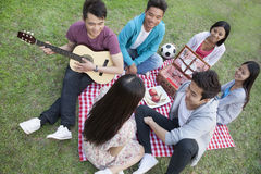 Six friends having a picnic and hanging out in the park, playing guitar and talking Royalty Free Stock Photography