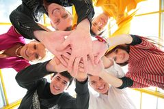 Six friends low angle view Royalty Free Stock Photo