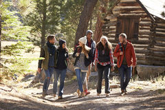 Six friends walking on forest path near a log cabin Stock Photos