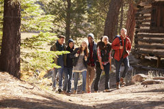 Six friends walking on forest path past a log cabin Royalty Free Stock Photography