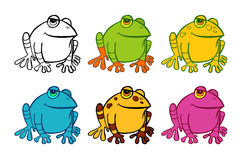 Six frog icons Royalty Free Stock Photo