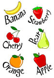 Six fruits. Vector illustration depicting a six different fruits and their names Stock Image