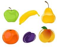 Six fruits set Stock Photography