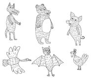 Six funny animals. Vector illustration of a six funny animals Royalty Free Stock Photography