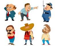 Six funny characters set. Vector illustration of a six funny characters set Stock Image