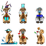 Six funny dogs emotions icons Stock Photography