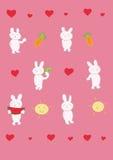 Six funny rabbits. Funny rabbits and many elements. Vector illustration Royalty Free Stock Photo