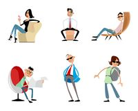 Six funny trendy characters. Vector illustration of six funny trendy characters Stock Photo