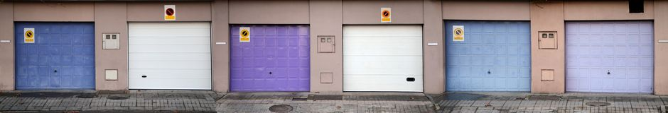 Six garage doors (panoramic view) Stock Photography