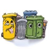 Six garbage cans Stock Image