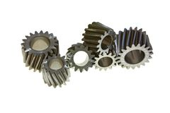 Six gear wheels on a white background Royalty Free Stock Photos