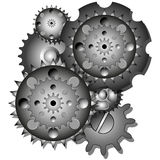 Six gears in motion Stock Photos