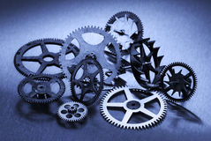 Six Gears On Cyan Stock Images