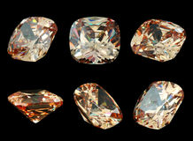 Six gems isolated on a black background Stock Image