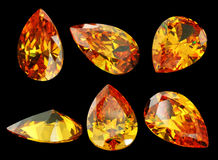 Six gems isolated on a black background stock images