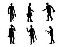 Six gens d'affaires de silhouettes Image libre de droits