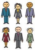 Six gens d'affaires tirés illustration de vecteur