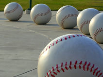 Six Giant Baseballs. Oversize baseball structure or display stock photo
