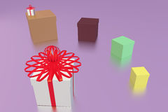 Six gift boxes Royalty Free Stock Photo