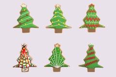 Six gingerbread christmas trees Stock Photos
